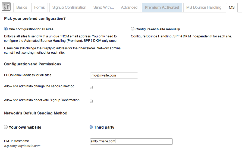 Multisite network configuration for our plugin