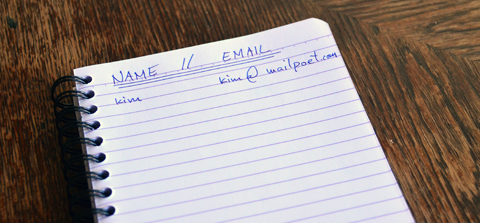 Email list on note pad