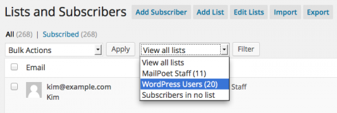 Filter subscribers by WordPress users