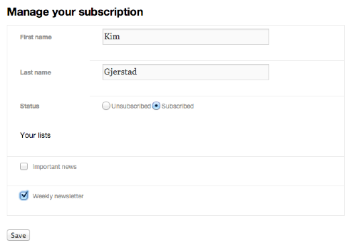 The page for subscribers to manage their subscription preferences
