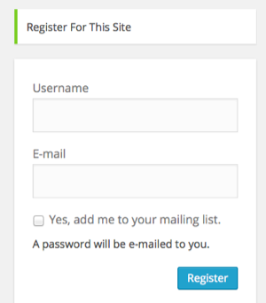 WordPress registration form with signup checkbox