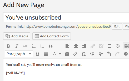 Add a new page which will be your future unsubscribe page