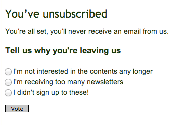 Unsubscribe page with poll