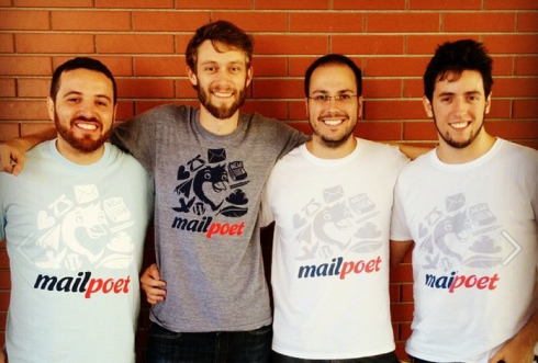 Photo of MailPoet team: Funchal, Kim, Rafael and Gustavo