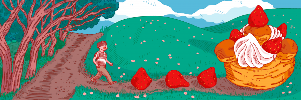 Boy walking towards strawberries and dessert.