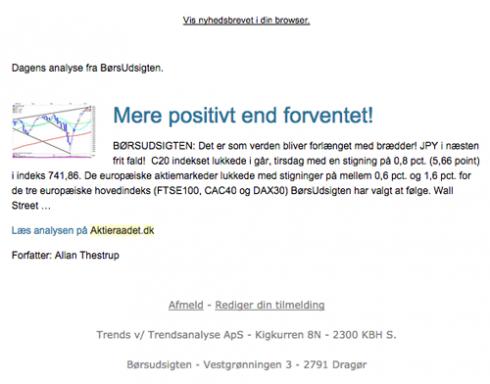 Screenshot of the newsletter