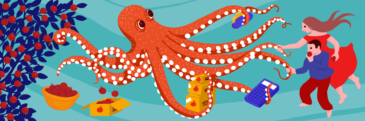 Octopus picking apples and selling them to people