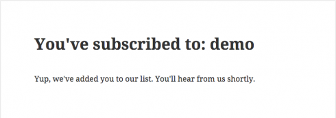 Default MailPoet signup confirmation landing page with 2014 theme