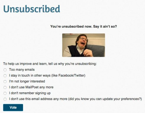 MailPoet unsubscribe page