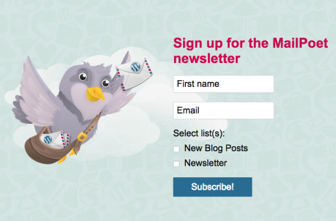 signup form for iPad from MailPoet