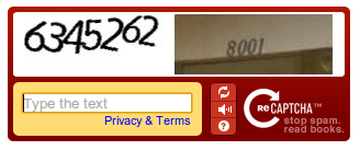 Old style re captcha with letters and numbers