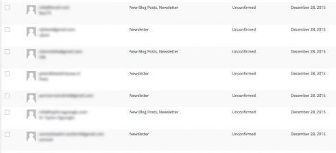 Unconfirmed subscribers in MailPoet