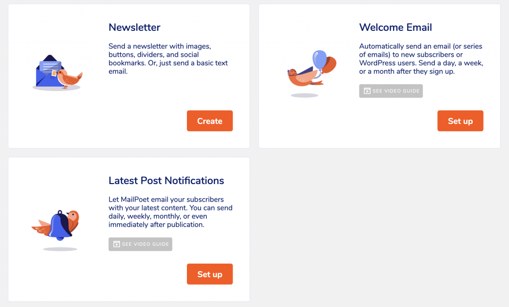 Email types available in MailPoet