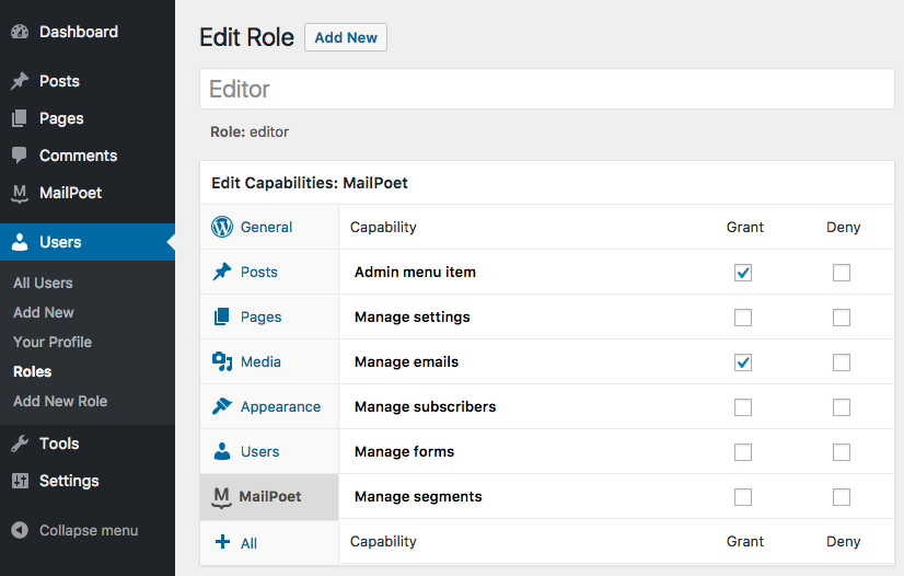 User role editor.