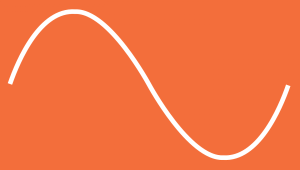 white curve on an orange background