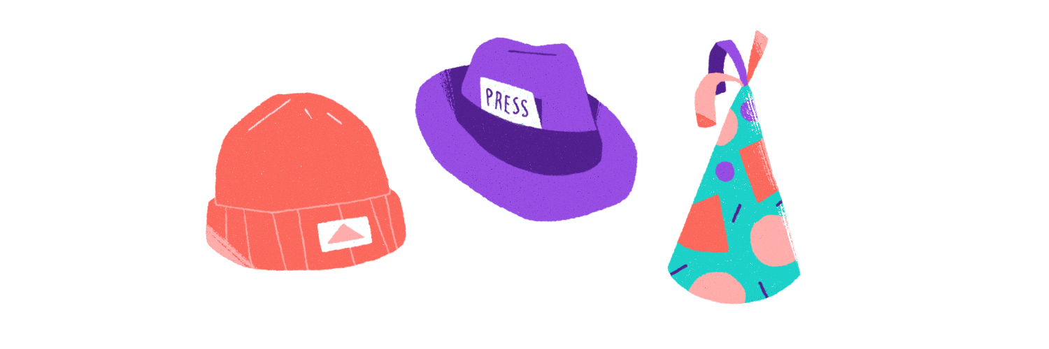Multiple hats illustration.