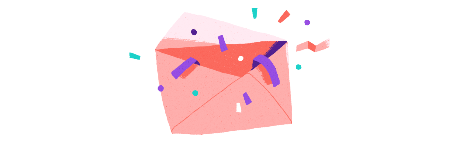 Envelope with confetti.