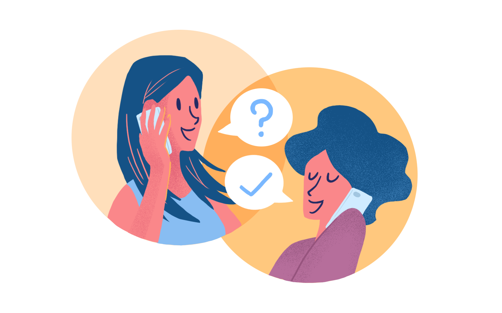 Illustration of two woman talking.