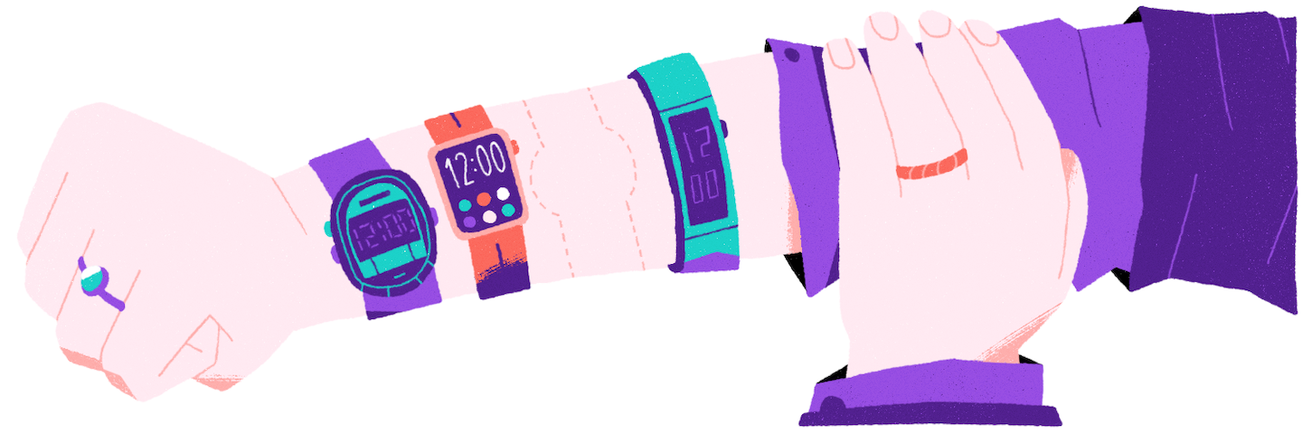 illustration of an arm with lots of watches
