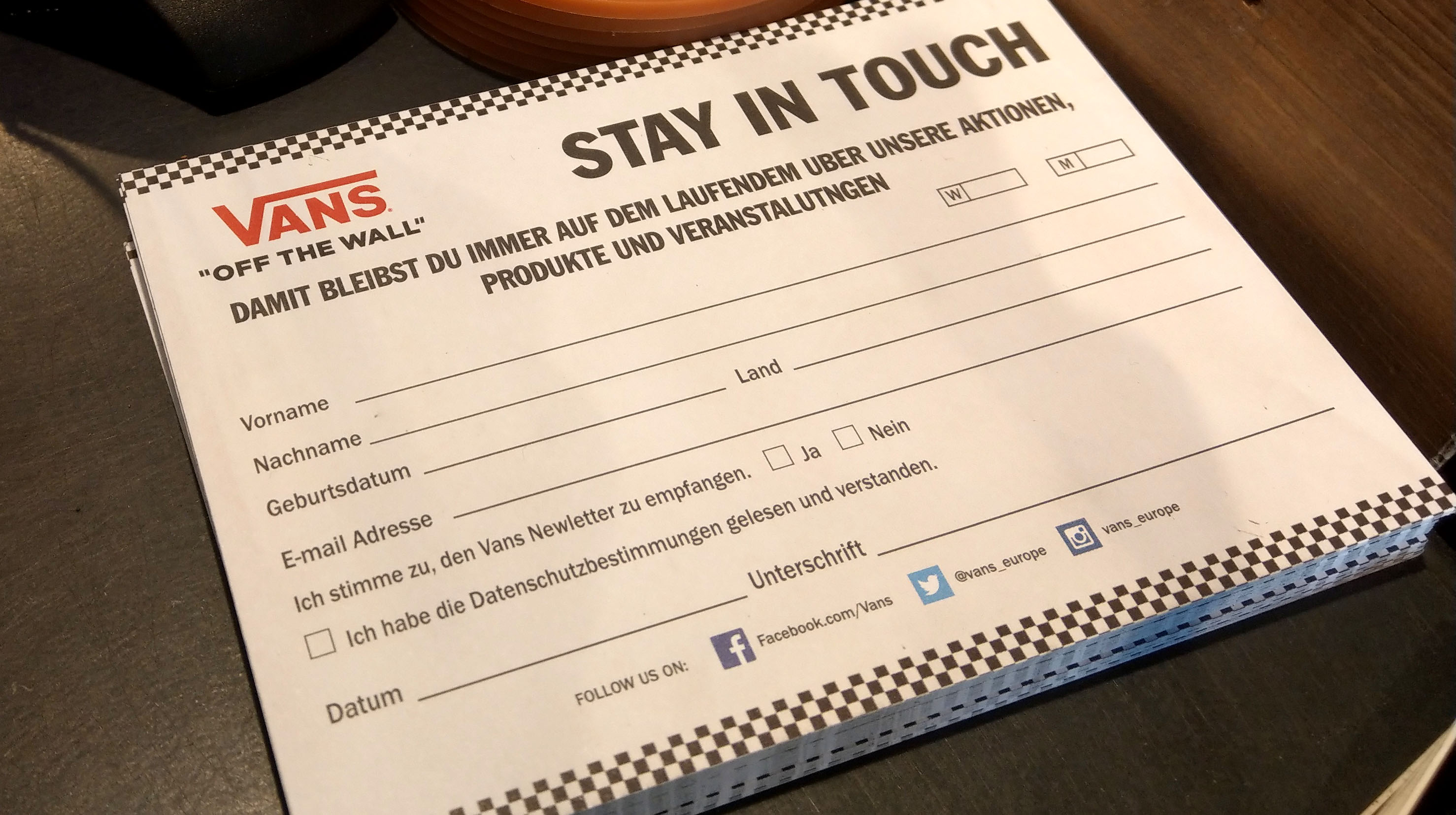 Example of a in-person signup form from VANS.