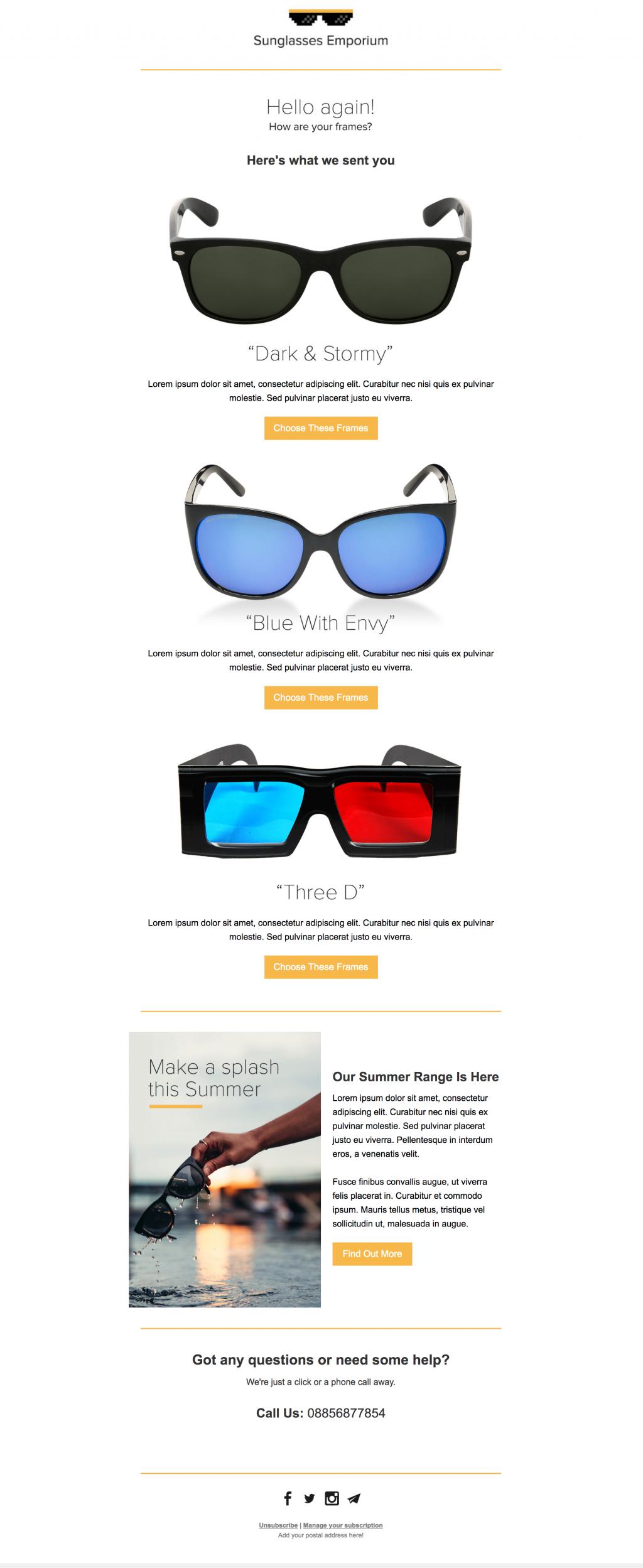 Sunglasses newsletter