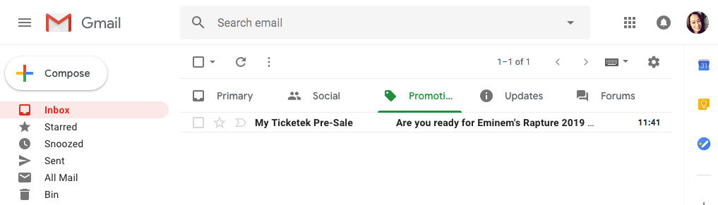Gmail's tab system