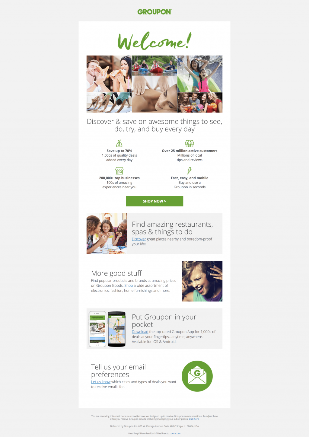 Example of a Groupon email