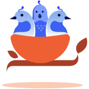 Illustration of birds sitting in a basket.