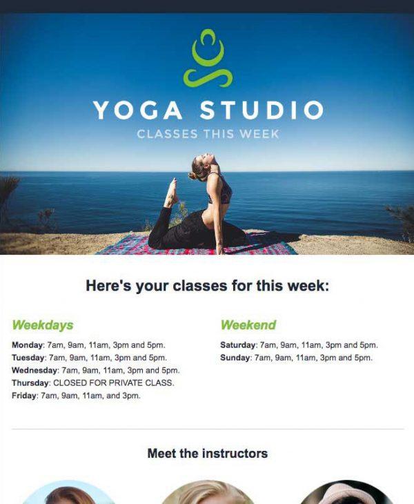 yoga studio email template