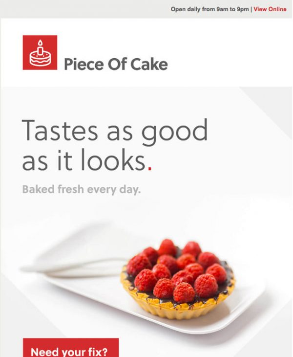 piece of cake email template