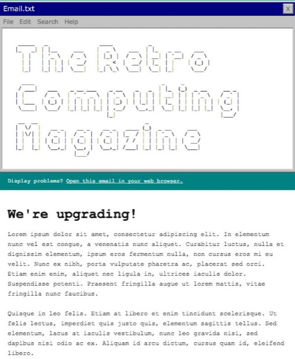 retro computing email template