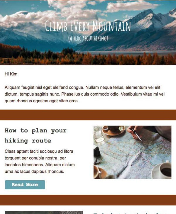 hiking email template