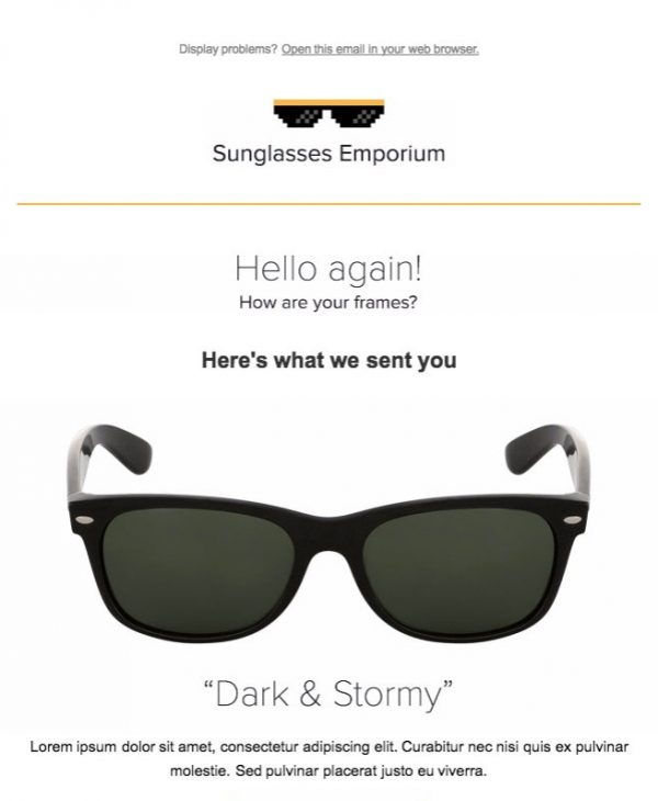 sunglasses email template
