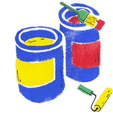Cans of paint and brushes