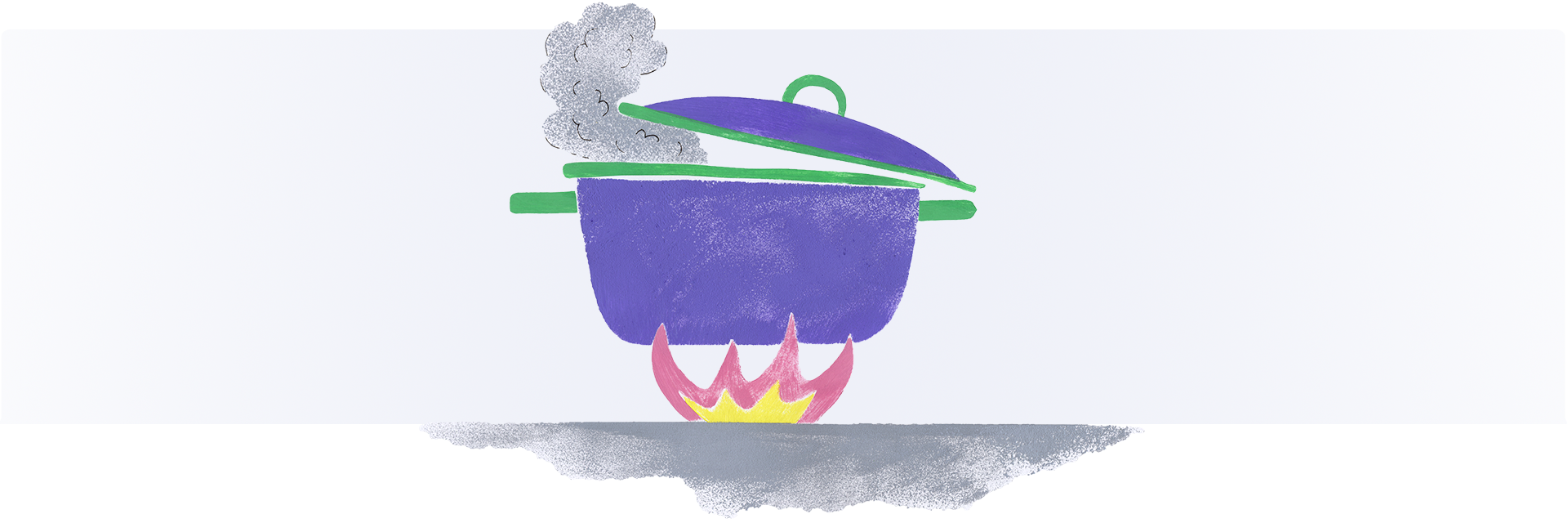 A pot cooking on an open flame.
