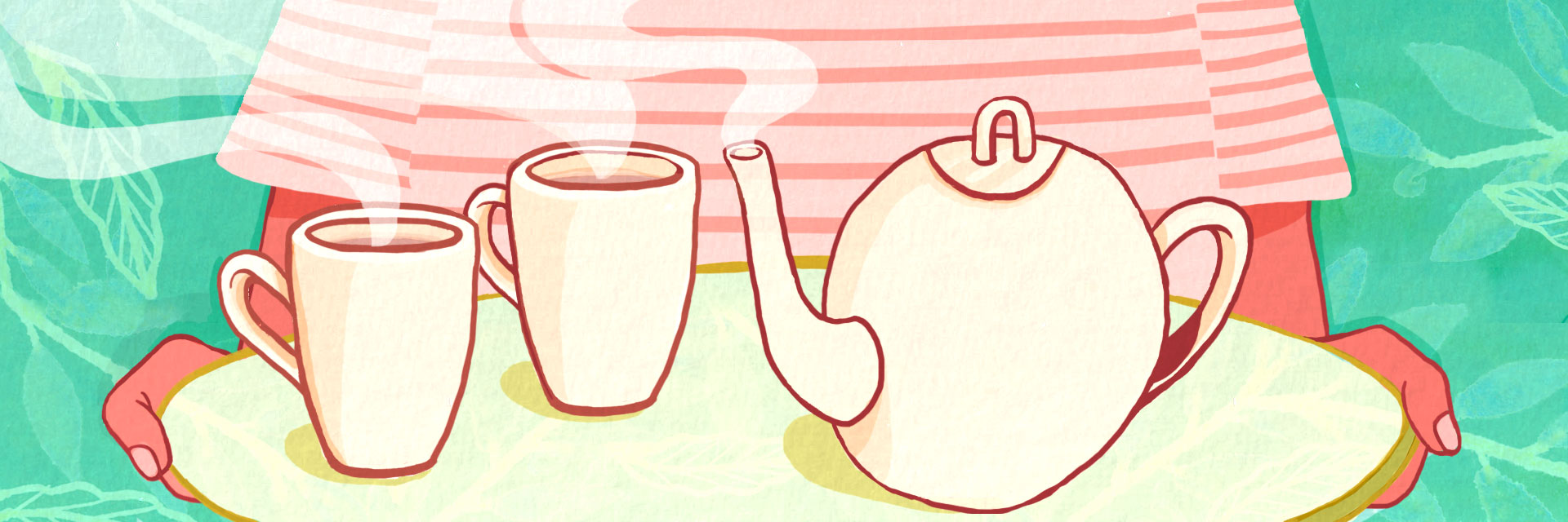Illustration of tea and tea pot.