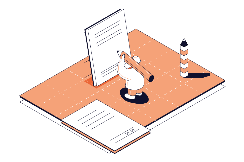 illustration of a contract being written