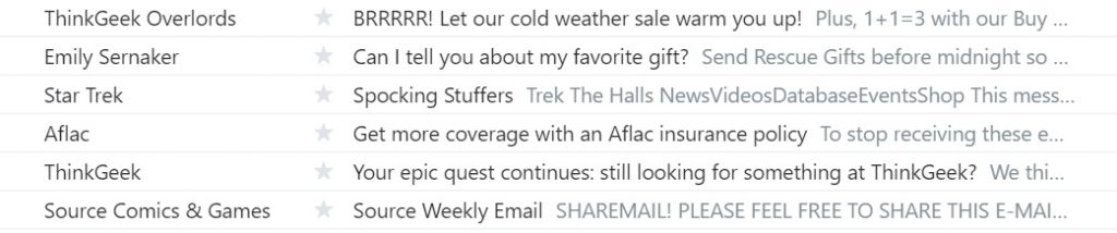 Think Geek email subject line