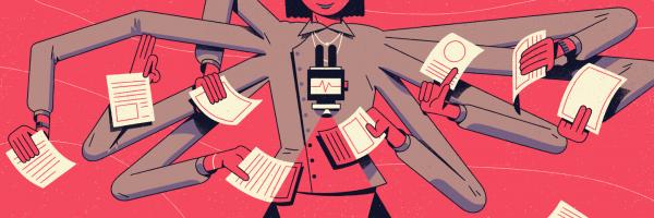Illustration of someone multi-tasking.
