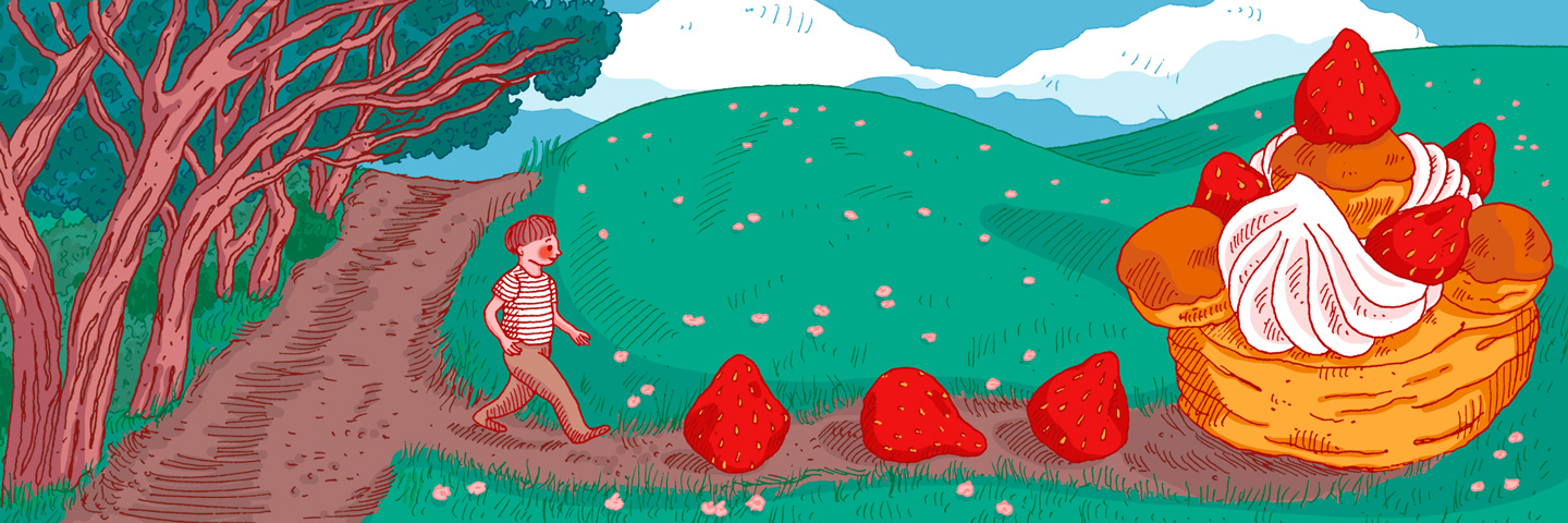 Boy walking towards strawberries and dessert.