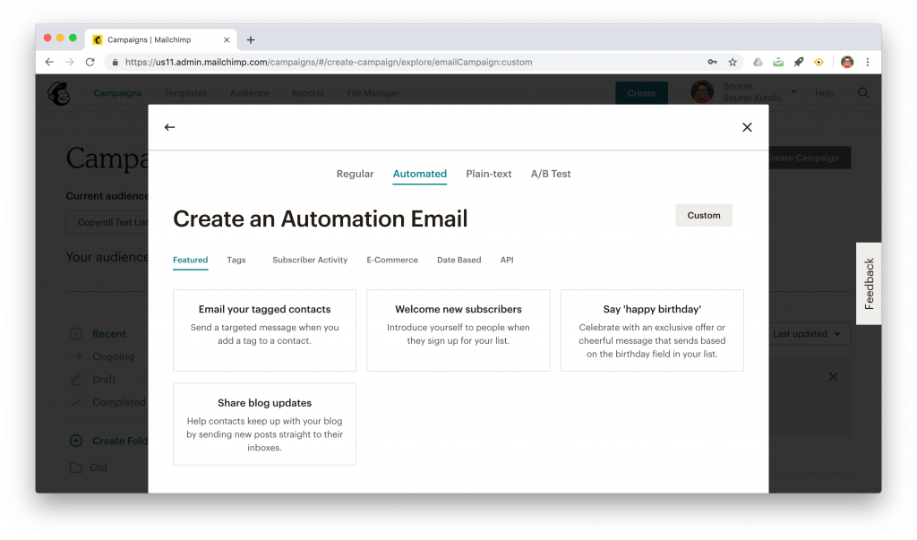 Creating an automated email in Mailchimp