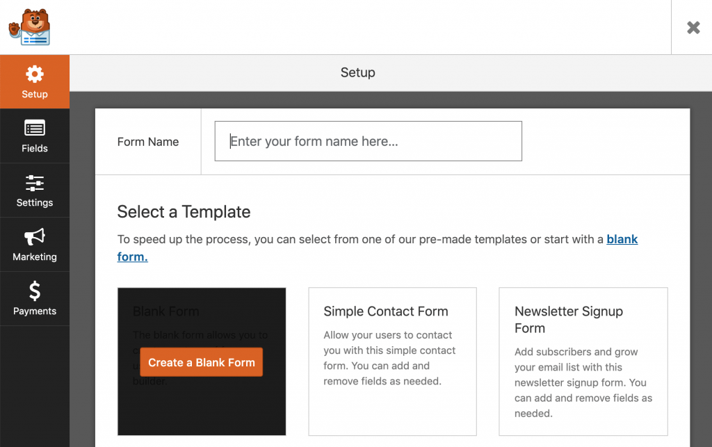 WP Forms user interface.