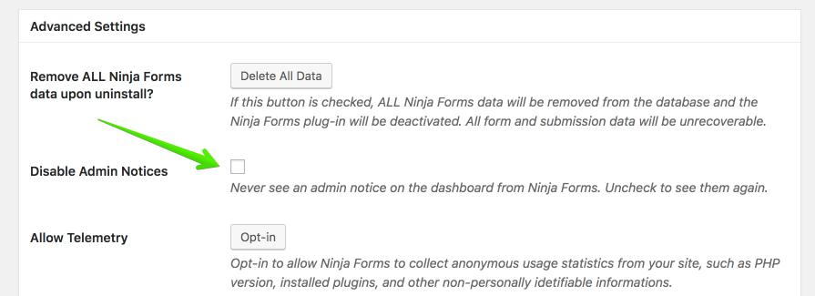 Ninja forms advanced settings.