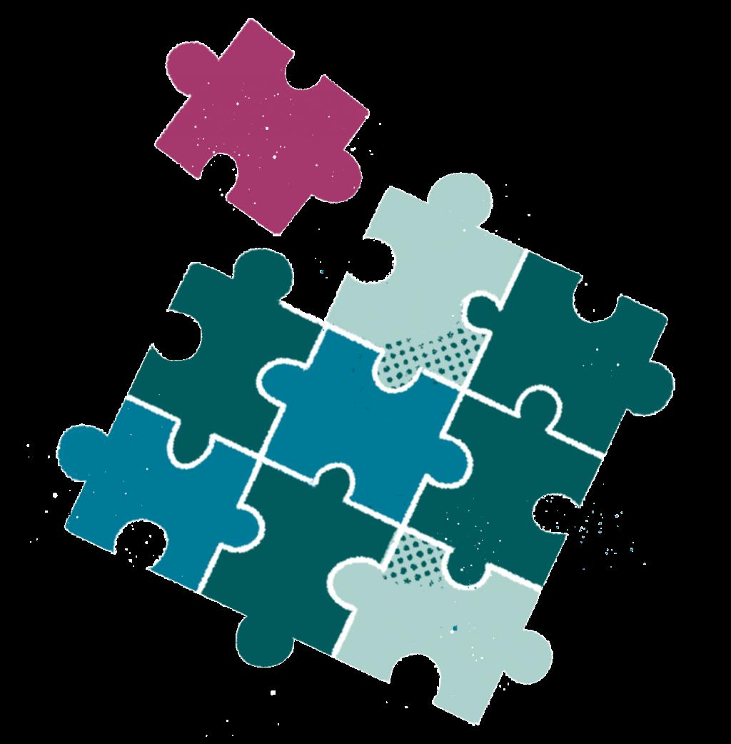 Puzzle pieces illustration.