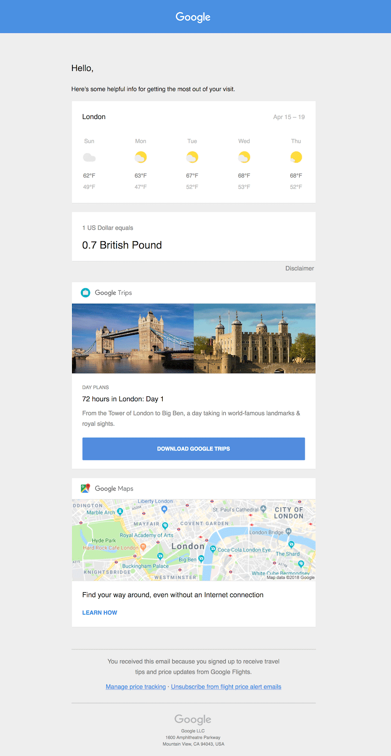 Google trips example email.