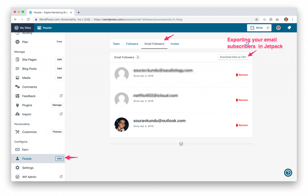 jetpack plugin - exporting email subscribers