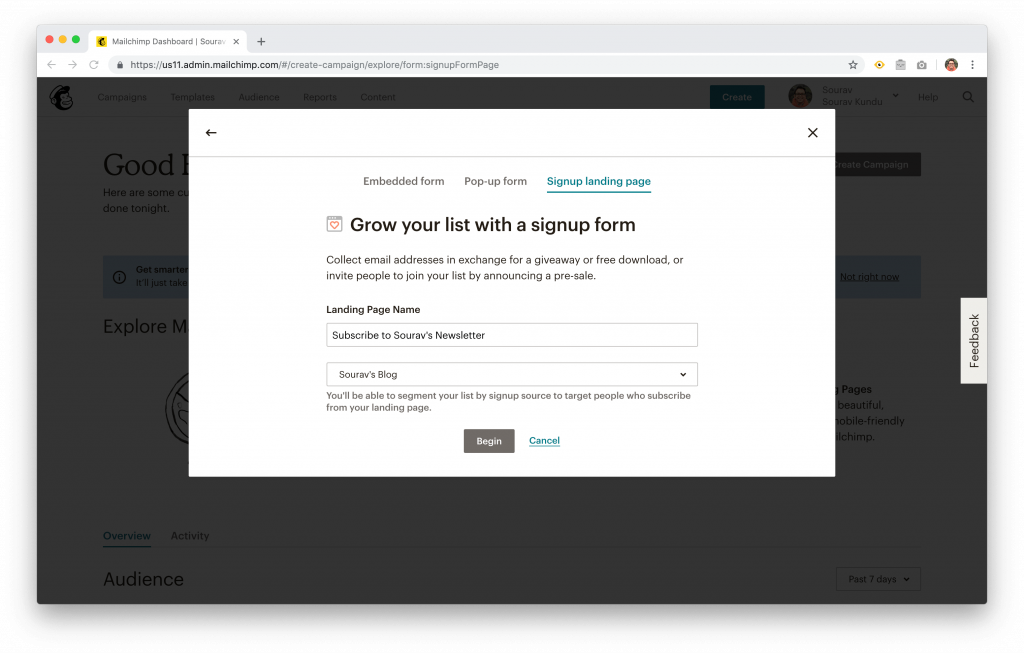 Signup form options in Mailchimp
