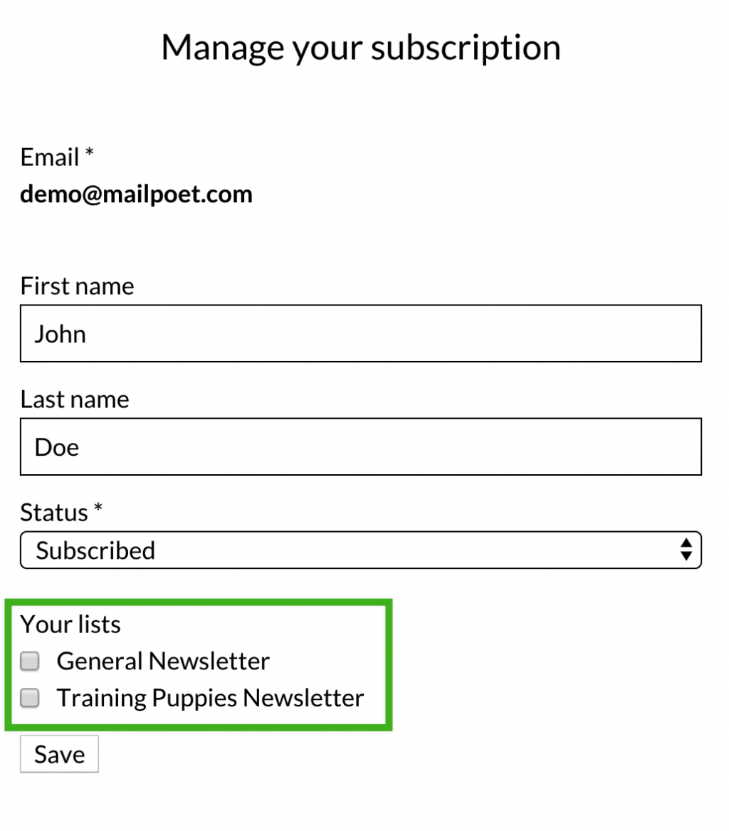 Manage subscription list selection example.