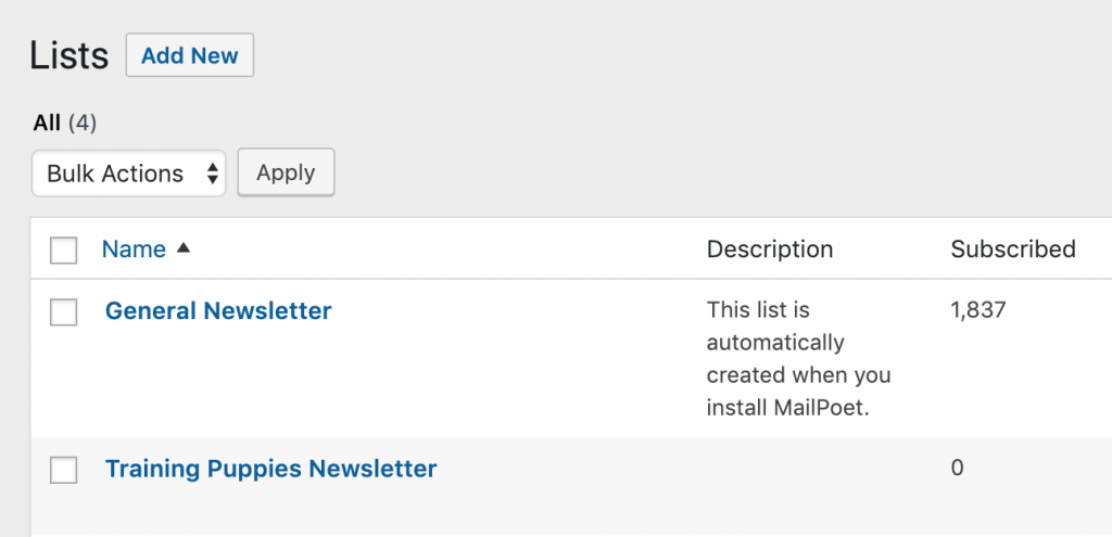 Adding a second mailing list.