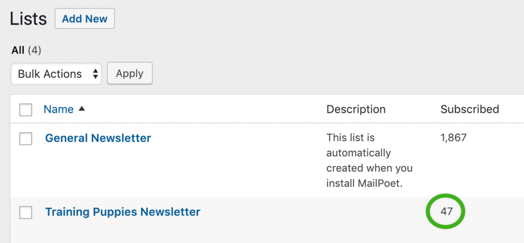 Number of subscribers in MailPoet.